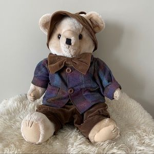 Vintage teddy bear with jacket bow tie hat & pants